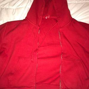 Brandy Melville Tops - Brandy Melville red ribbed cropped zip hoodie